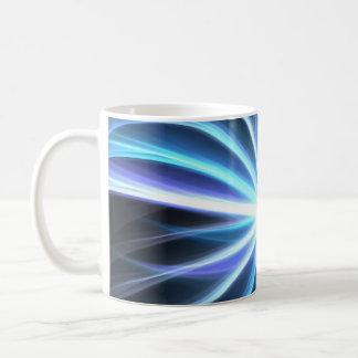 Blue Shining Solar Fractal Starburst Mugs