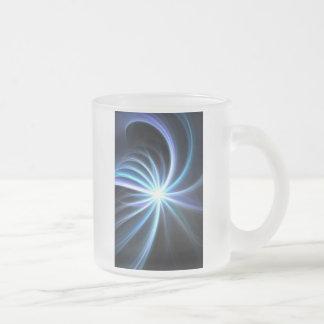 Blue Shining Solar Fractal Starburst 10 Oz Frosted Glass Coffee Mug