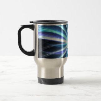 Blue Shining Solar Fractal Starburst 15 Oz Stainless Steel Travel Mug