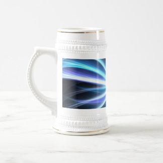 Blue Shining Solar Fractal Starburst Coffee Mugs