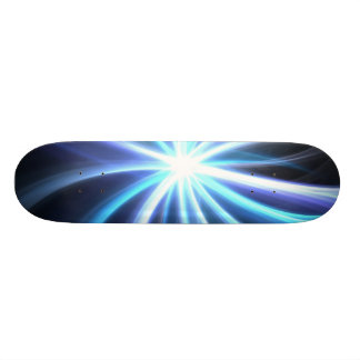 Blue Shining Solar Fractal Starburst Skate Deck