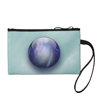 Blue Shiny Glass Marble Coin Wallets