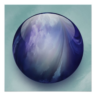 Blue Shiny Glass Marble Poster