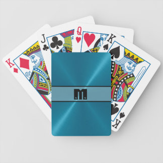 Blue Shiny Stainless Steel Metal 5 Bicycle Playing Cards