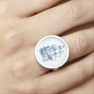 Blue ship Nautical ring Blue and white
