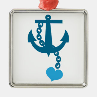 Blue ship ocean anchor christmas ornament