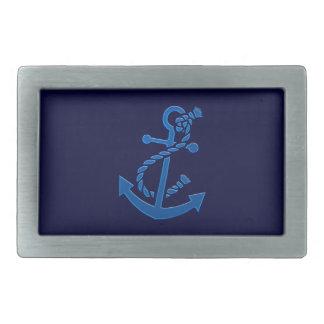 Blue Ship s Anchor Nautical Marine Themed Rectangular Belt Buckles