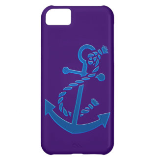 Blue Ship s Anchor Nautical Marine Themed Case For iPhone 5C