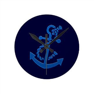 Blue Ship s Anchor Nautical Marine Themed Round Clocks