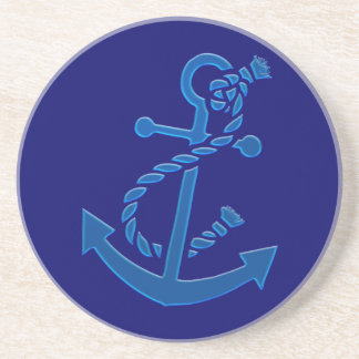 Blue Ship s Anchor Nautical Marine Themed Drink Coaster