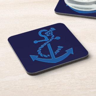 Blue Ship s Anchor Nautical Marine Themed Beverage Coasters