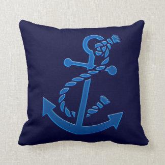 Blue Ship s Anchor Nautical Marine Themed Throw Pillow