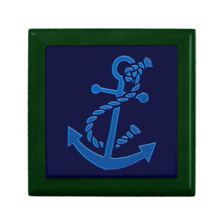 Blue Ship s Anchor Nautical Marine Themed Trinket Box