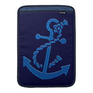 Blue Ship s Anchor Nautical Marine Themed MacBook Sleeve