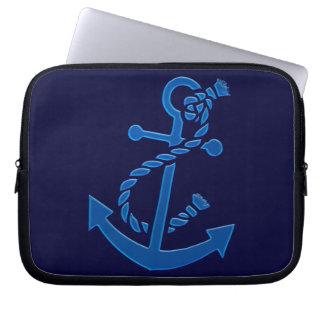 Blue Ship s Anchor Nautical Marine Themed Laptop Sleeve