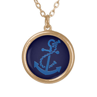 Blue Ship s Anchor Nautical Marine Themed Pendant