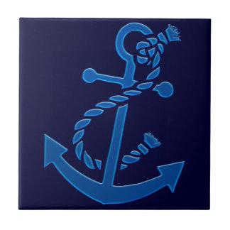 Blue Ship s Anchor Nautical Marine Themed Ceramic Tile