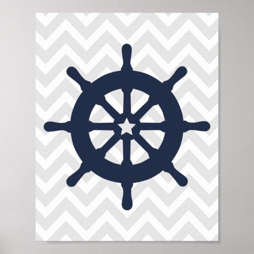 Blue Ship Wheel Nautical Nursery Poster