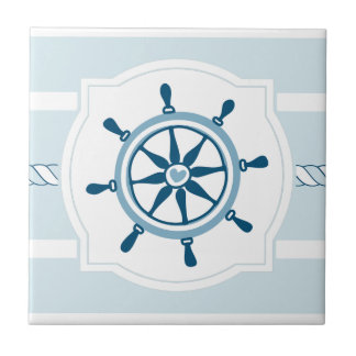 Blue ship wheel nautical stripes ceramic tile
