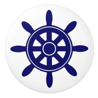 Blue Ship Wheel  Nautical Themed Cabinet Knob