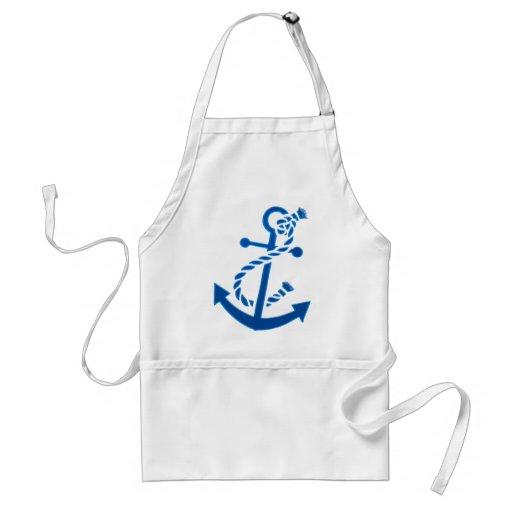 Blue Ship's Anchor Nautical Marine Themed Apron