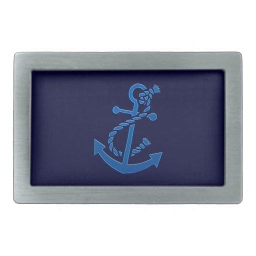 Blue Ship's Anchor Nautical Marine Themed Rectangular Belt Buckles