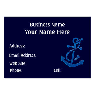 Blue Ship's Anchor Nautical Marine Themed Large Business Cards (Pack Of 100)