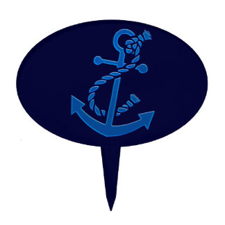 Blue Ship's Anchor Nautical Marine Themed Cake Toppers