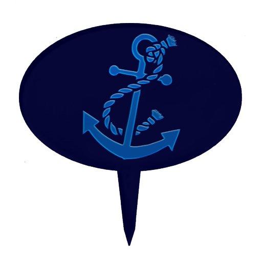 Blue Ship's Anchor Nautical Marine Themed Cake Picks