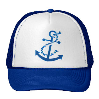 Blue Ship's Anchor Nautical Marine Themed Trucker Hat