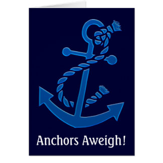Blue Ship's Anchor Nautical Marine Themed Greeting Card