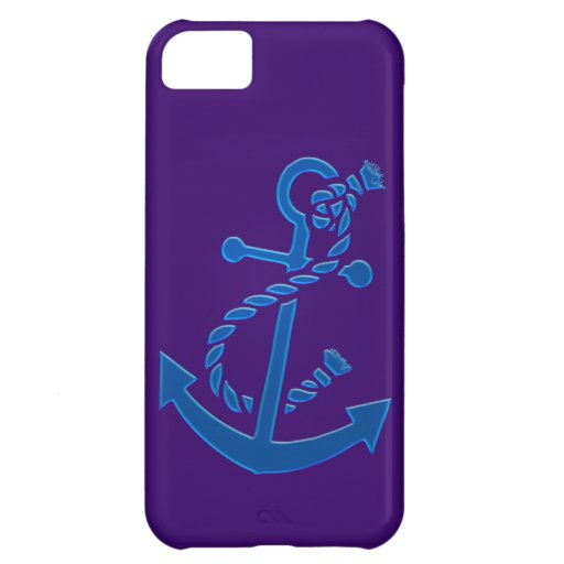 Blue Ship's Anchor Nautical Marine Themed Case For iPhone 5C