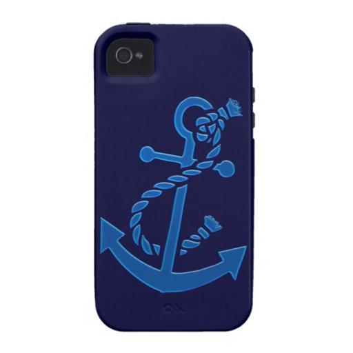 Blue Ship's Anchor Nautical Marine Themed Vibe iPhone 4 Case