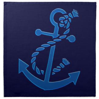Blue Ship's Anchor Nautical Marine Themed Cloth Napkins