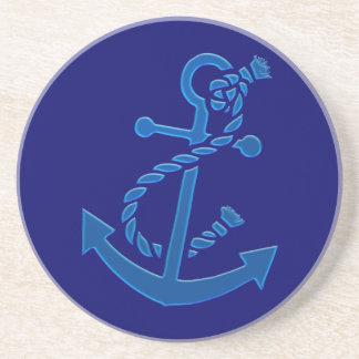 Blue Ship's Anchor Nautical Marine Themed Sandstone Coaster