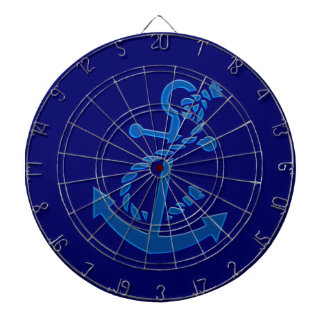 Blue Ship's Anchor Nautical Marine Themed Dartboard