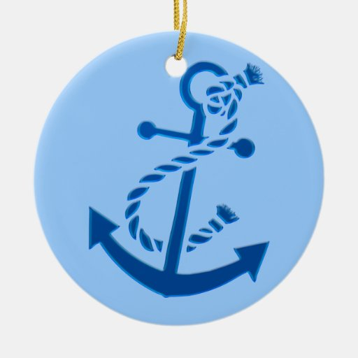 Blue Ship's Anchor Nautical Marine Themed Christmas Ornaments