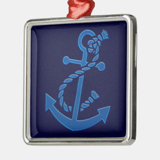 Blue Ship's Anchor Nautical Marine Themed Square Metal Christmas Ornament