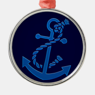 Blue Ship's Anchor Nautical Marine Themed Round Metal Christmas Ornament