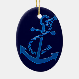 Blue Ship's Anchor Nautical Marine Themed Double-Sided Oval Ceramic Christmas Ornament