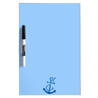 Blue Ship's Anchor Nautical Marine Themed Dry-Erase Boards