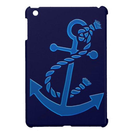 Blue Ship's Anchor Nautical Marine Themed iPad Mini Case