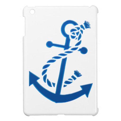 Blue Ship's Anchor Nautical Marine Themed iPad Mini Cover