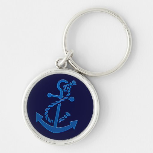 Blue Ship's Anchor Nautical Marine Themed Key Chains