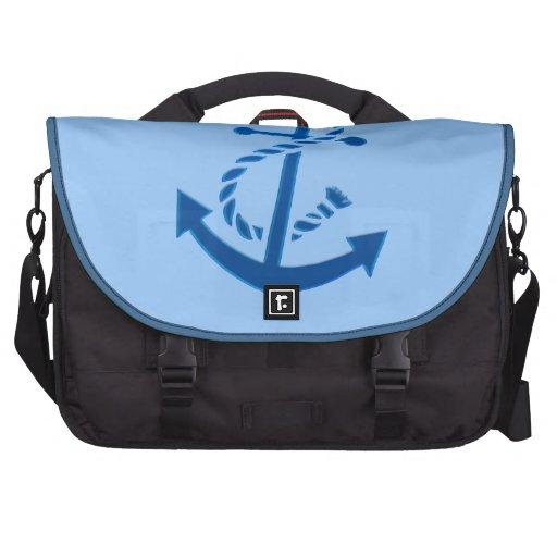 Blue Ship's Anchor Nautical Marine Themed Bag For Laptop