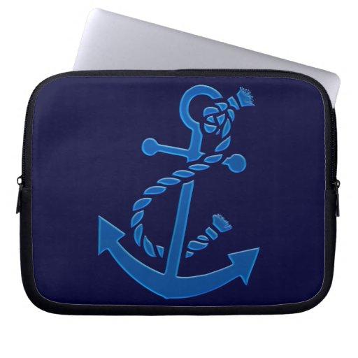 Blue Ship's Anchor Nautical Marine Themed Laptop Sleeve