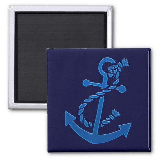 Blue Ship's Anchor Nautical Marine Themed Fridge Magnets