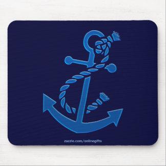 Blue Ship's Anchor Nautical Marine Themed Mouse Pad