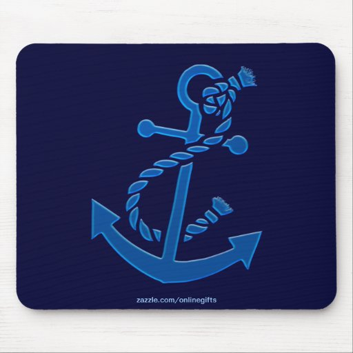 Blue Ship's Anchor Nautical Marine Themed Mousepads