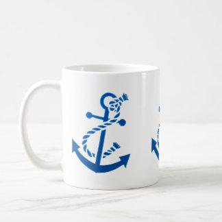 Blue Ship's Anchor Nautical Marine Themed Coffee Mug